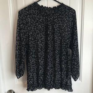 XXL Reitmans sheer black ditsy floral blouse